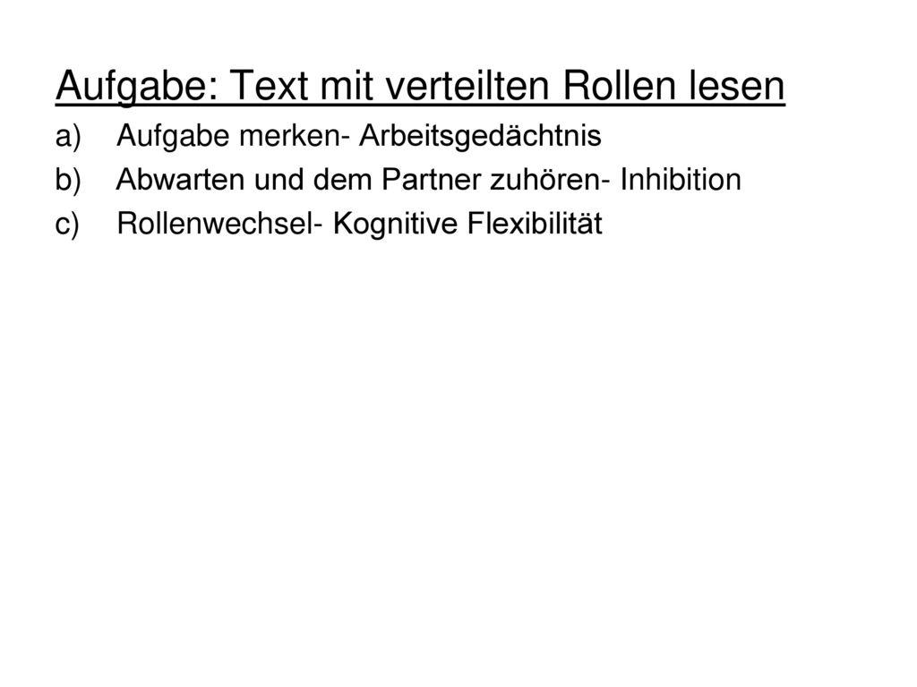 Aufgabe: Text mit verteilten Rollen lesen