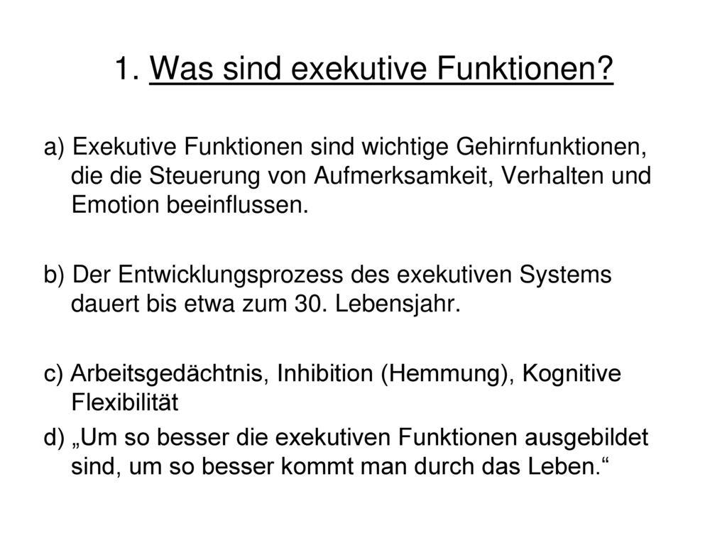 1. Was sind exekutive Funktionen