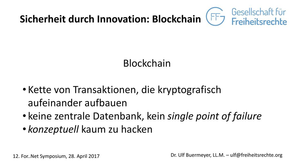 Sicherheit durch Innovation: Blockchain