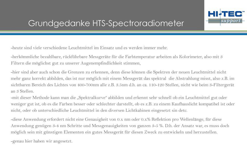 Grundgedanke HTS-Spectroradiometer