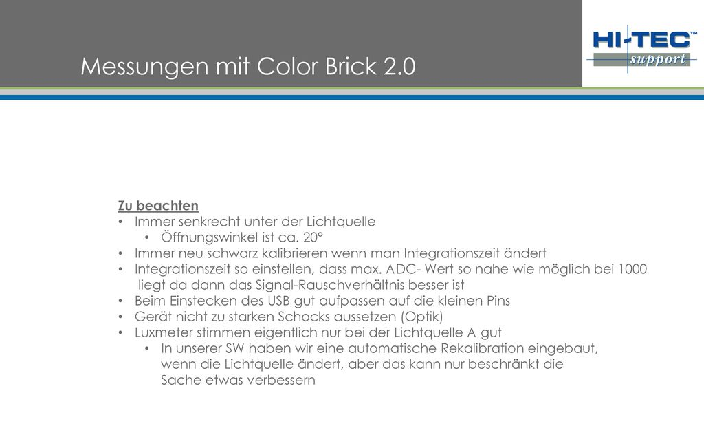 Messungen mit Color Brick 2.0