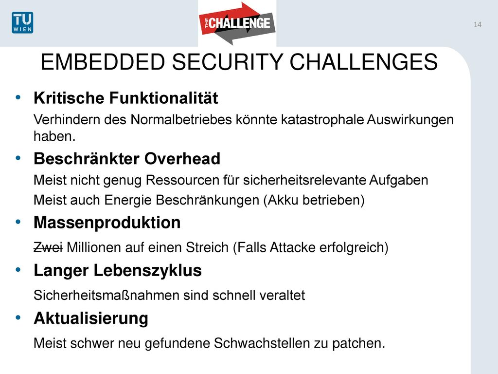 EMBEDDED SECURITY CHALLENGES