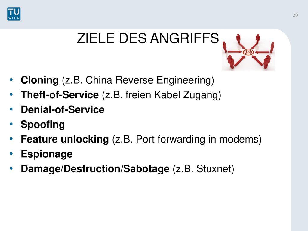 ZIELE DES ANGRIFFS Cloning (z.B. China Reverse Engineering)