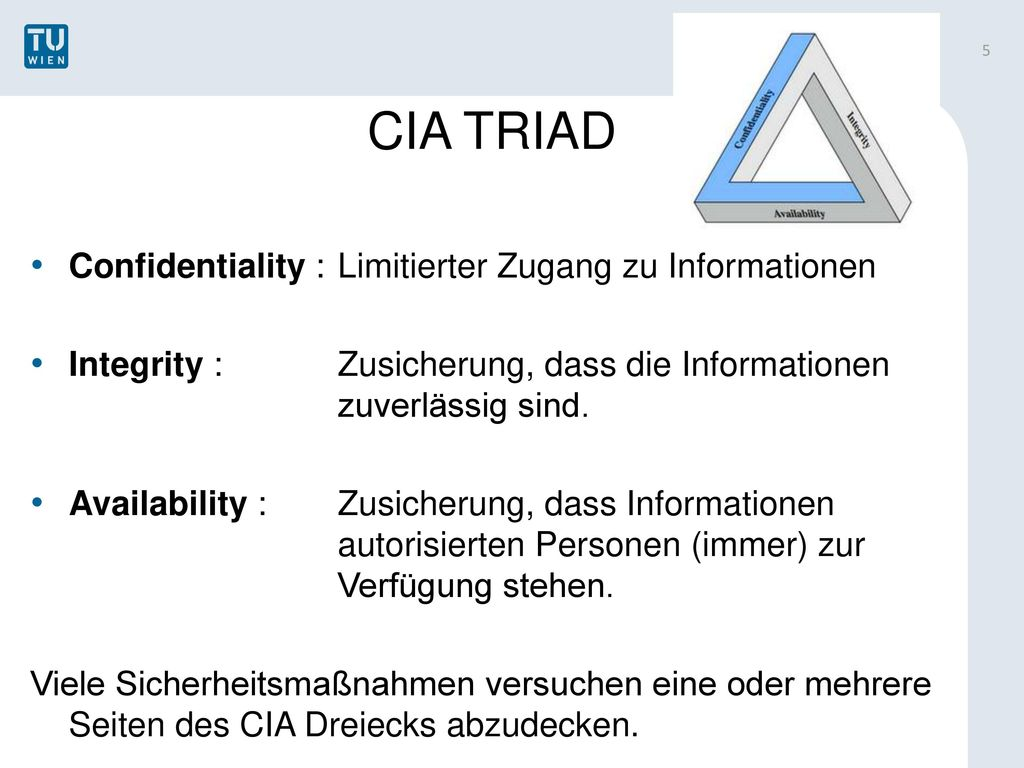 CIA TRIAD Confidentiality : Limitierter Zugang zu Informationen