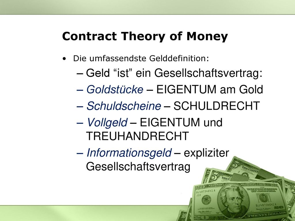 Contract Theory of Money