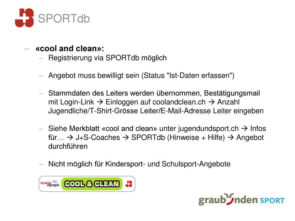 SPORTdb «cool and clean»: Registrierung via SPORTdb möglich