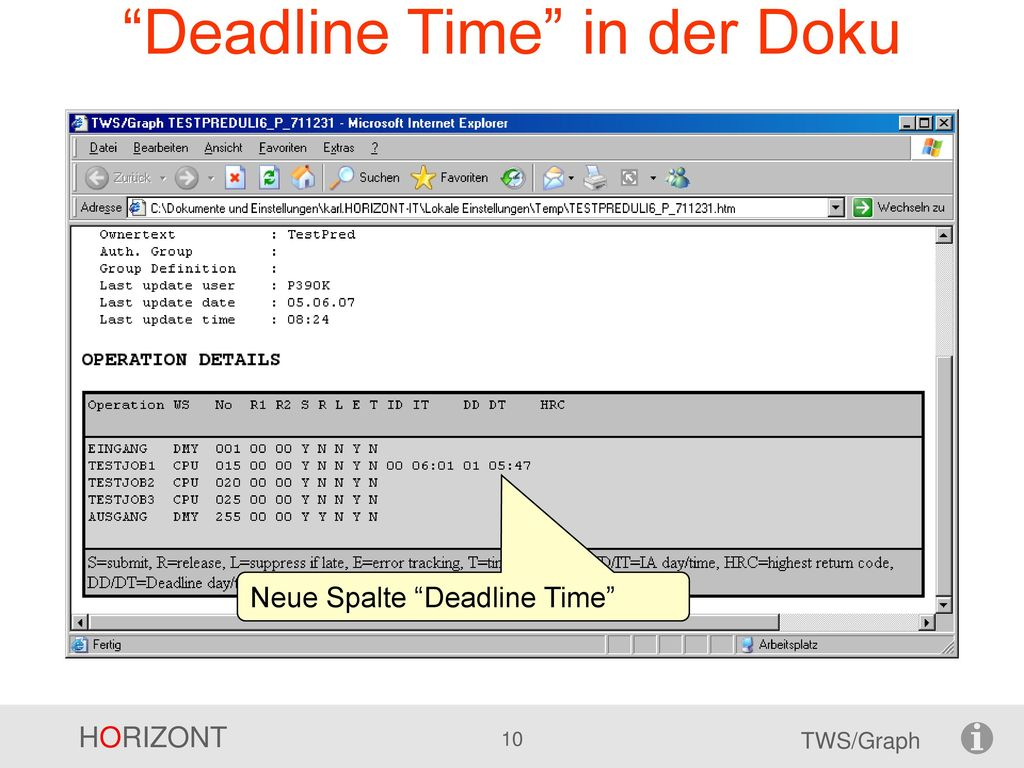 Deadline Time in der Doku