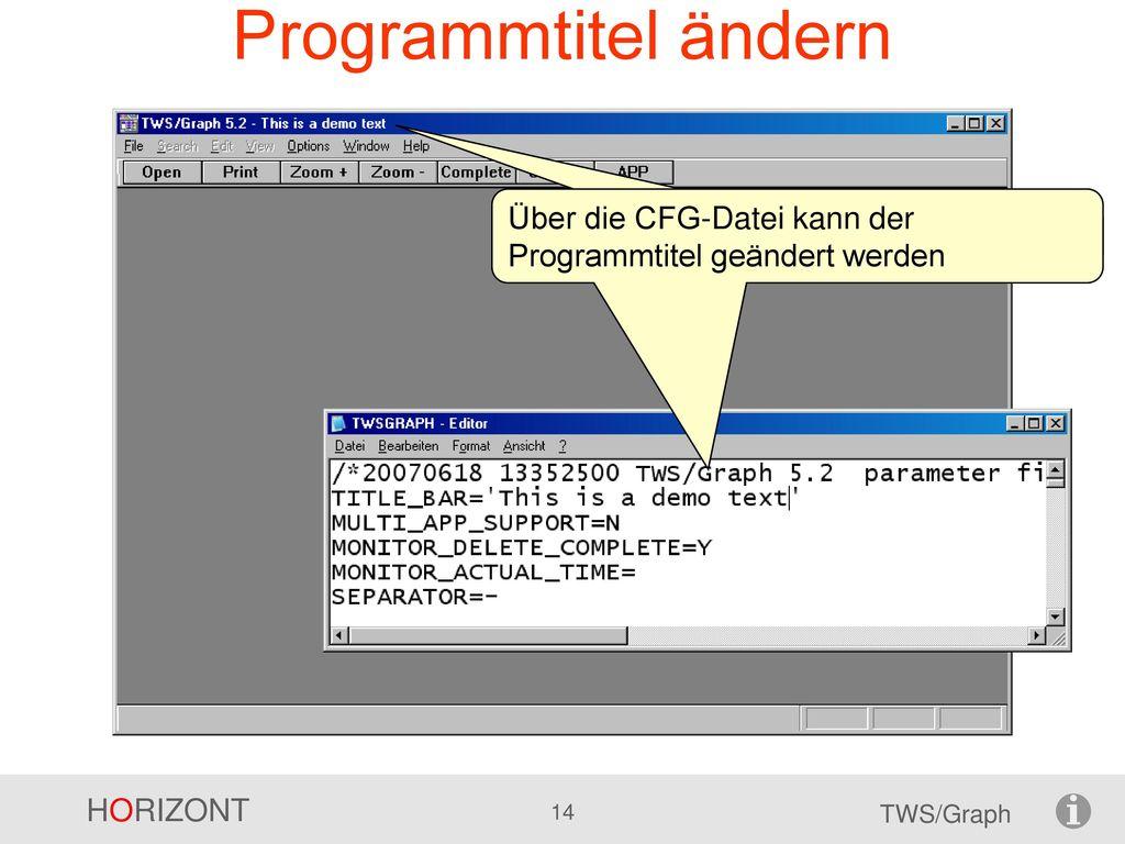 Programmtitel ändern Über die CFG-Datei kann der Programmtitel geändert werden.