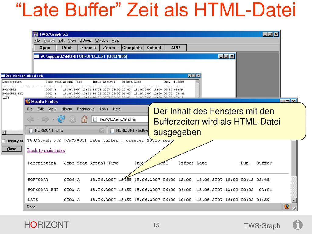 Late Buffer Zeit als HTML-Datei