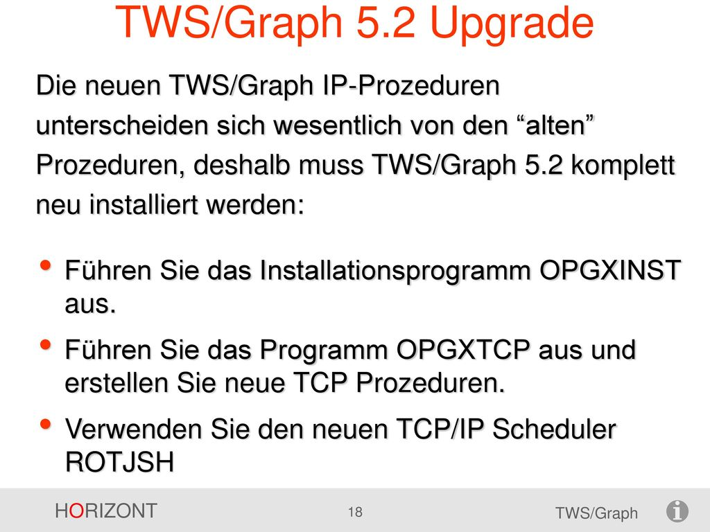 TWS/Graph 5.2 Upgrade