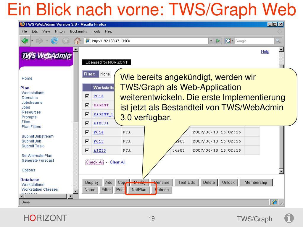 Ein Blick nach vorne: TWS/Graph Web