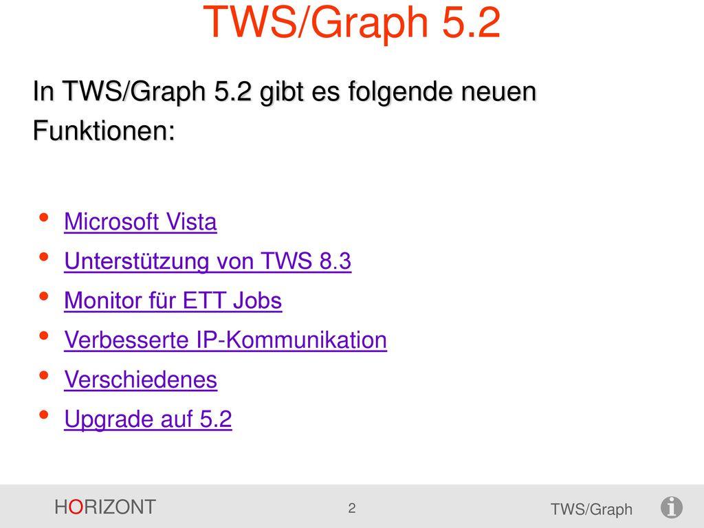 TWS/Graph 5.2 In TWS/Graph 5.2 gibt es folgende neuen Funktionen: