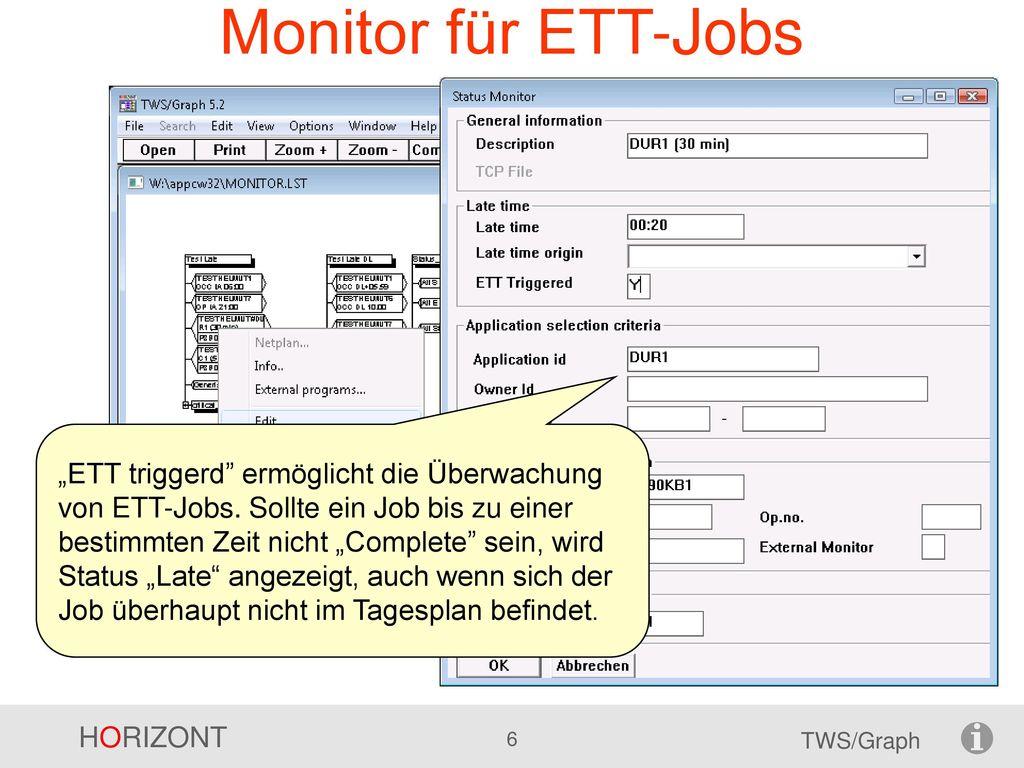 Monitor für ETT-Jobs
