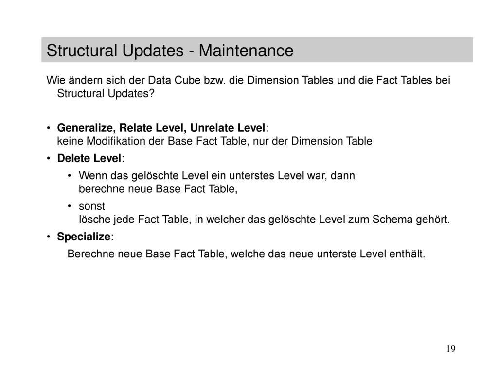 Structural Updates - Maintenance