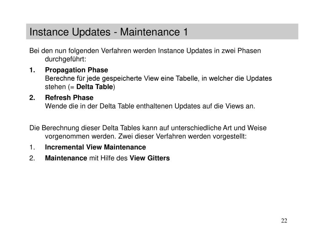 Instance Updates - Maintenance 1