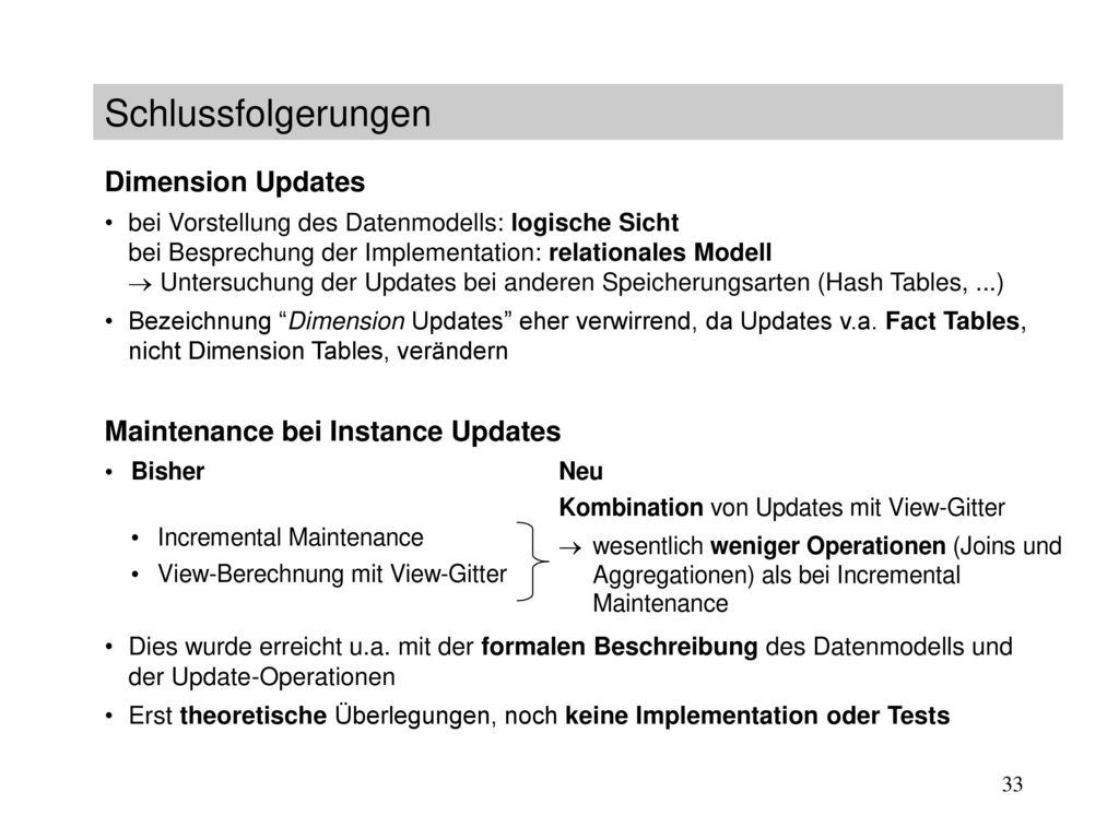 Schlussfolgerungen Dimension Updates Maintenance bei Instance Updates