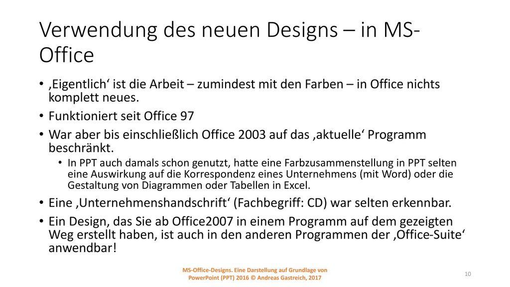 Verwendung des neuen Designs – in MS-Office