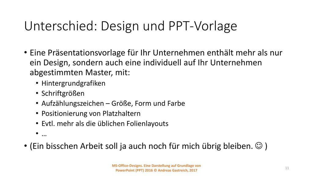 Unterschied: Design und PPT-Vorlage