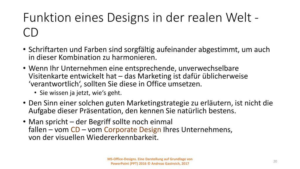 Funktion eines Designs in der realen Welt - CD