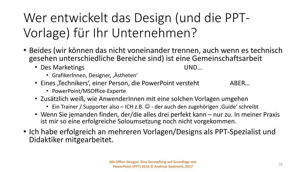 Wer entwickelt das Design (und die PPT-Vorlage) für Ihr Unternehmen