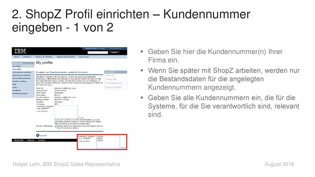 2. ShopZ Profil einrichten – Kundennummer eingeben - 1 von 2