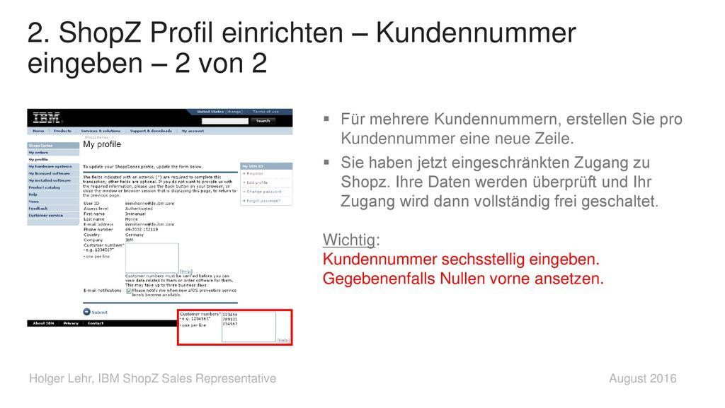 2. ShopZ Profil einrichten – Kundennummer eingeben – 2 von 2
