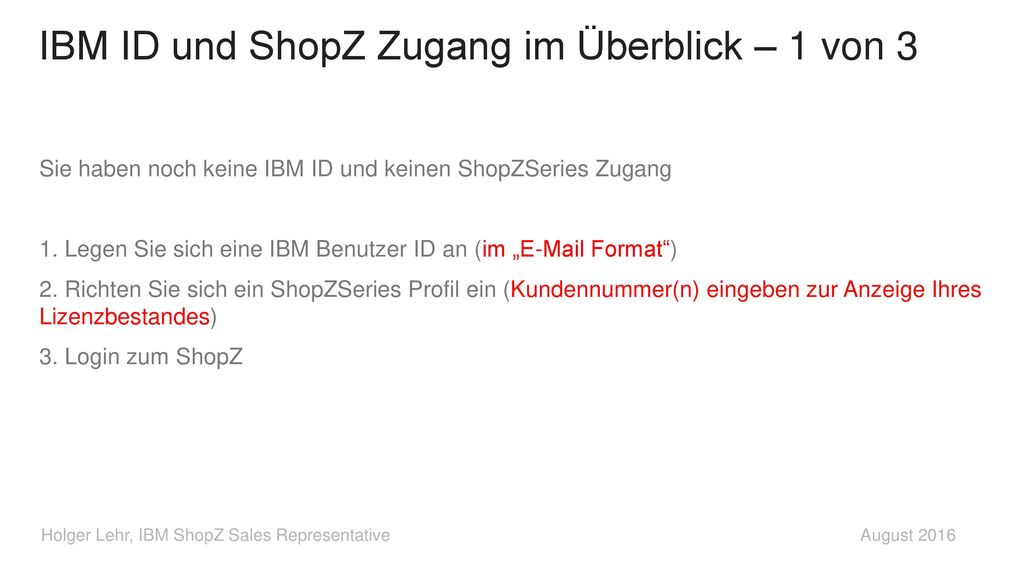 IBM ID und ShopZ Zugang im Überblick – 1 von 3