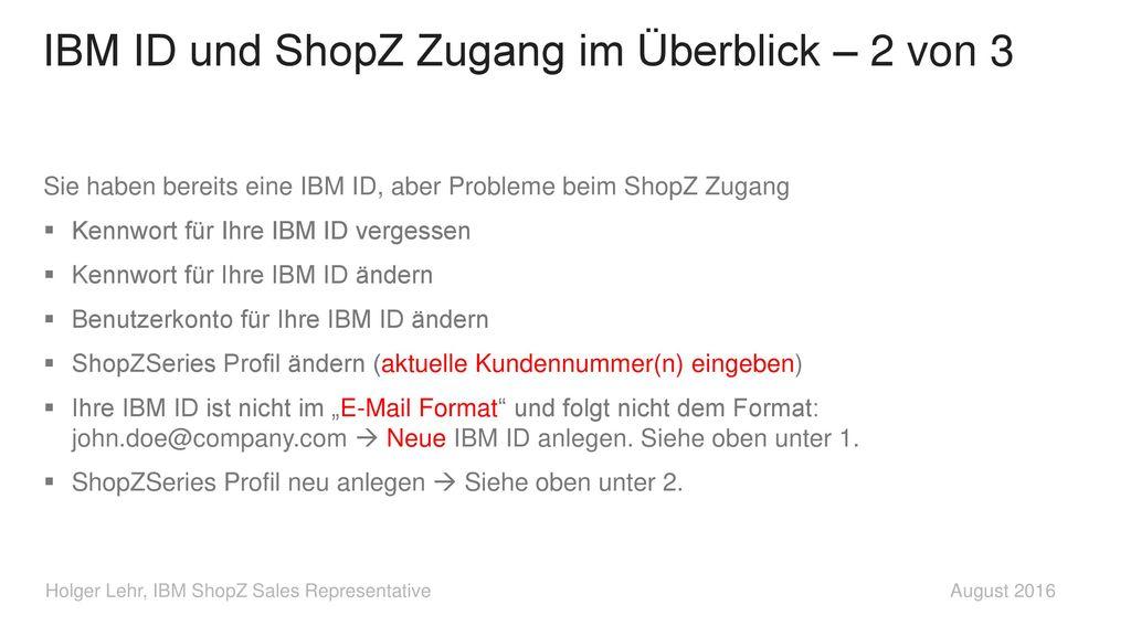 IBM ID und ShopZ Zugang im Überblick – 2 von 3