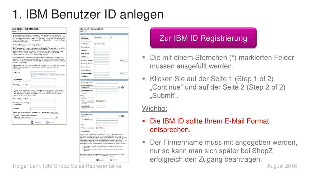 1. IBM Benutzer ID anlegen