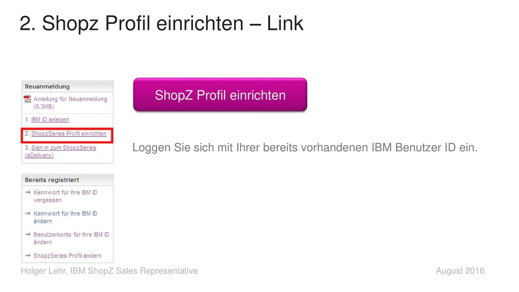 2. Shopz Profil einrichten – Link