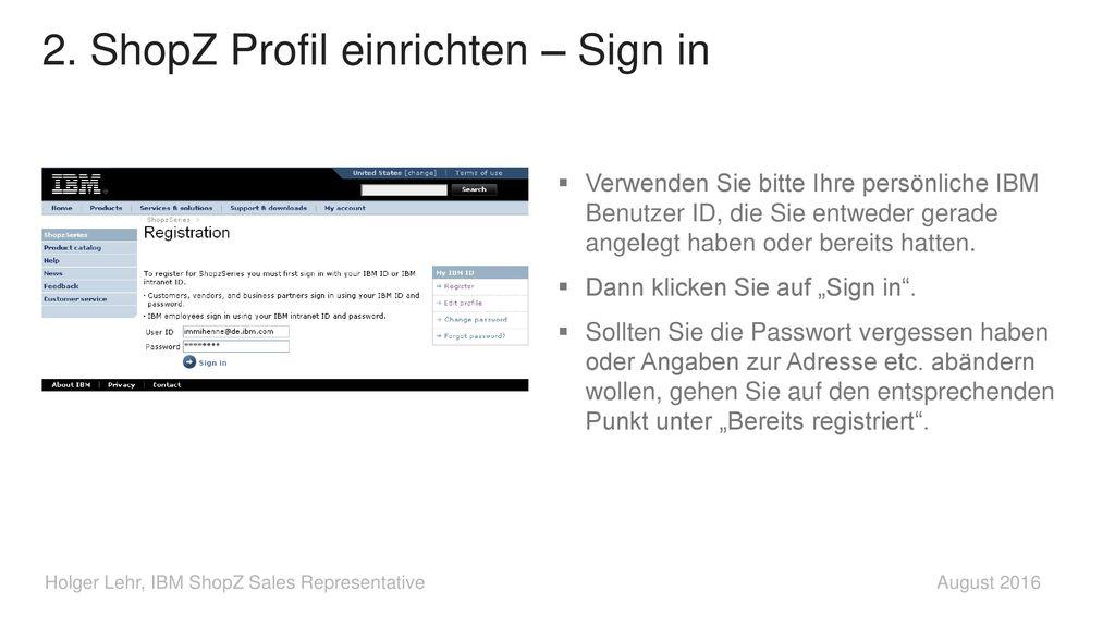2. ShopZ Profil einrichten – Sign in