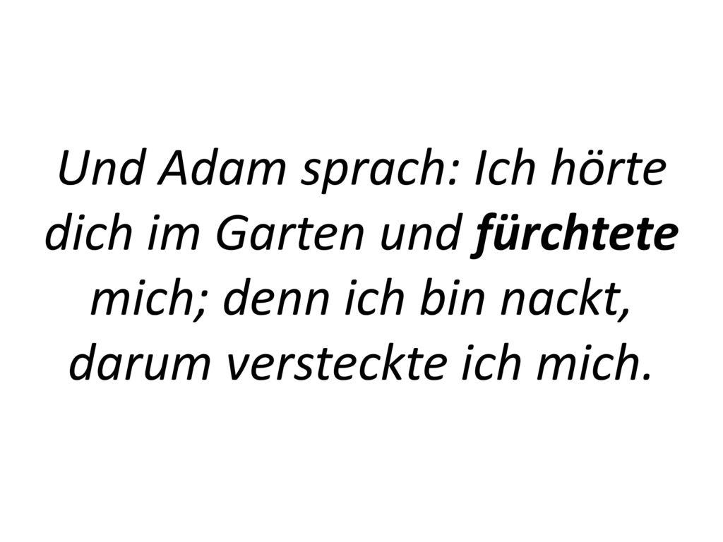 Und Adam sprach: Ich hörte dich im Garten und fürchtete mich; denn ich bin nackt, darum versteckte ich mich.