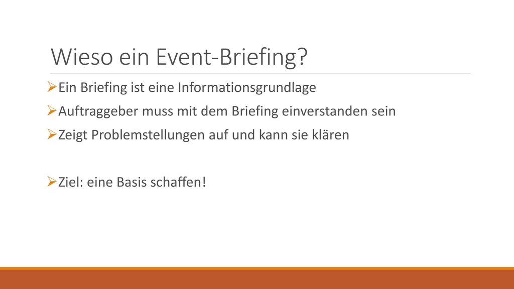 Wieso ein Event-Briefing
