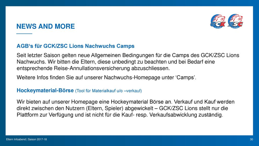 News and More AGB's für GCK/ZSC Lions Nachwuchs Camps