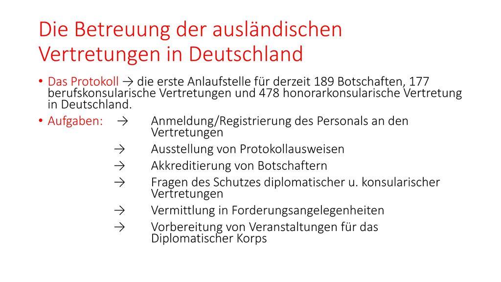 Die Betreuung der ausländischen Vertretungen in Deutschland