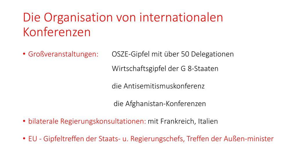 Die Organisation von internationalen Konferenzen