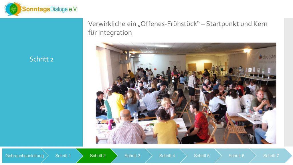 """Schritt 2 Verwirkliche ein """"Offenes-Frühstück – Startpunkt und Kern für Integration. Gebrauchsanleitung."""