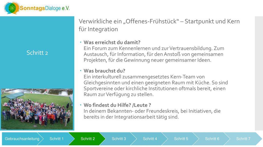 """Schritt 2 Verwirkliche ein """"Offenes-Frühstück – Startpunkt und Kern für Integration."""