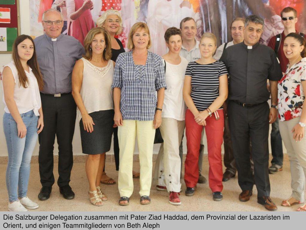 Die Salzburger Delegation zusammen mit Pater Ziad Haddad, dem Provinzial der Lazaristen im Orient, und einigen Teammitgliedern von Beth Aleph