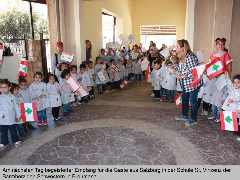 Am nächsten Tag begeisterter Empfang für die Gäste aus Salzburg in der Schule St.