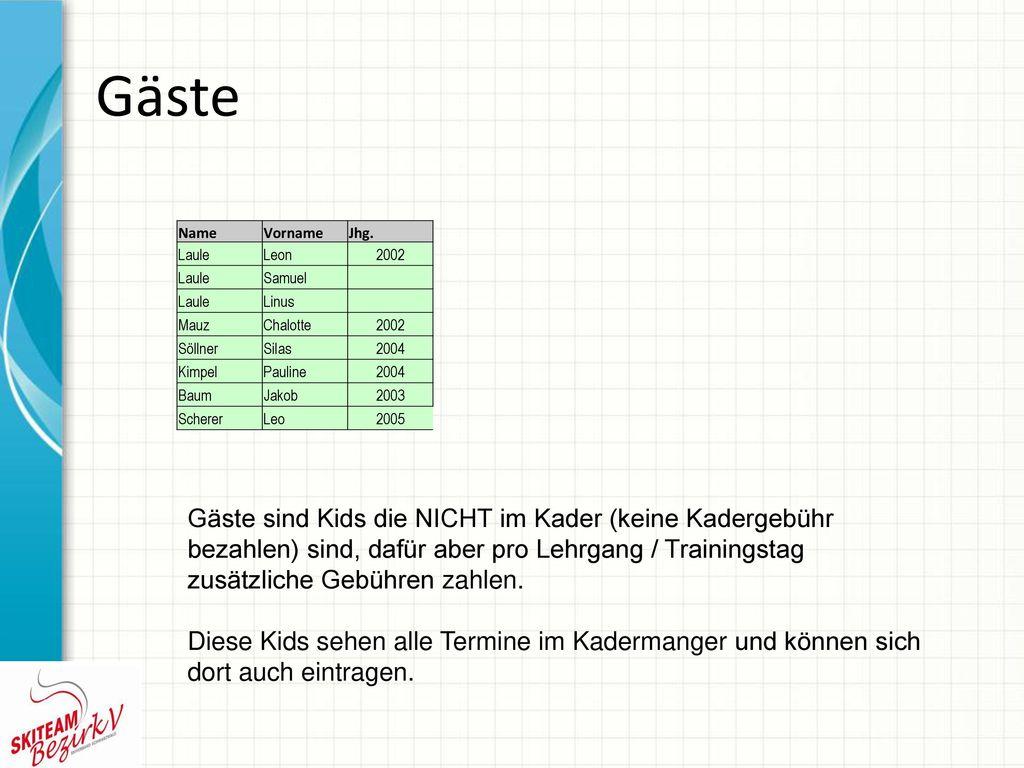 Gäste Name. Vorname. Jhg. Laule. Leon. 2002. Samuel. Linus. Mauz. Chalotte. Söllner. Silas.