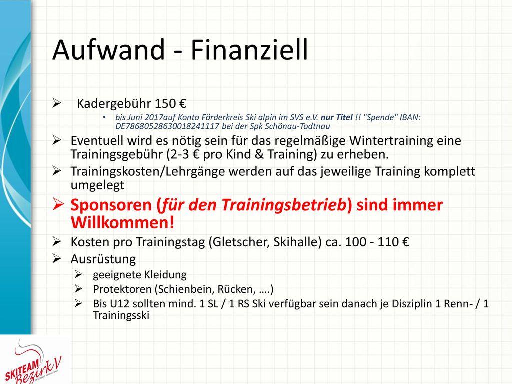 Aufwand - Finanziell Kadergebühr 150 €