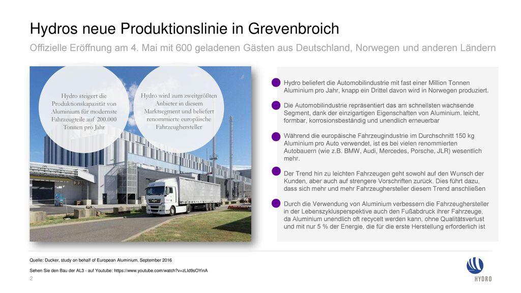 Hydros neue Produktionslinie in Grevenbroich