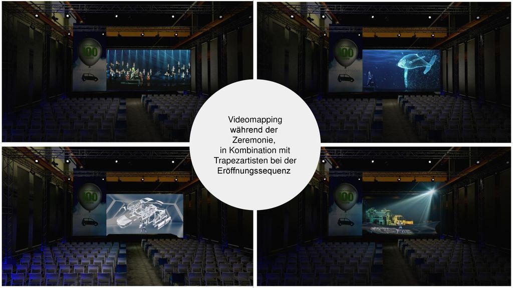 Videomapping während der Zeremonie, in Kombination mit Trapezartisten bei der Eröffnungssequenz