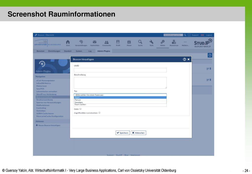 Screenshot Rauminformationen