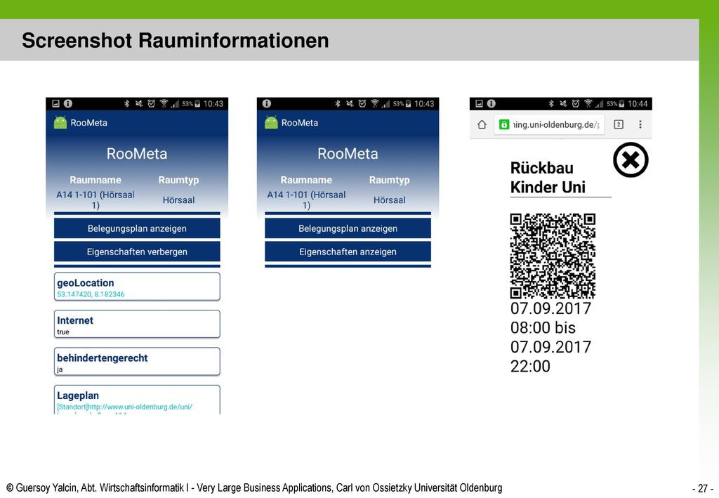 Screenshot Rauminformationen