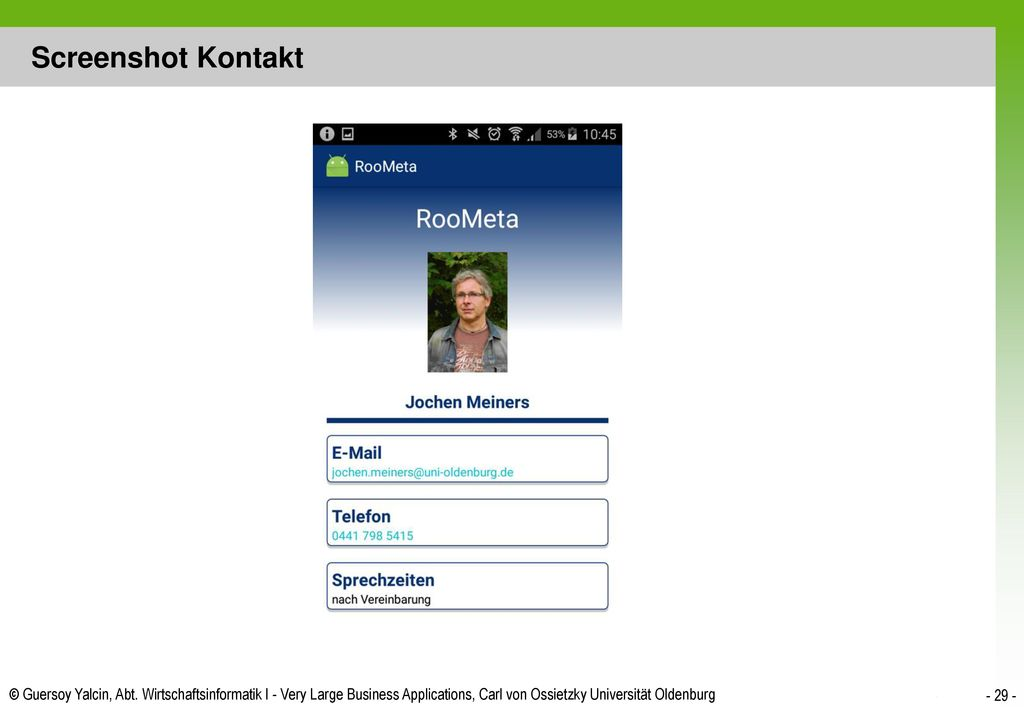 Screenshot Kontakt