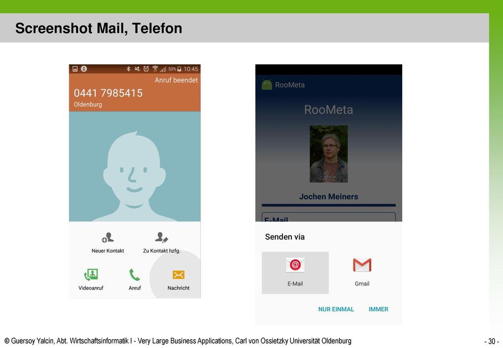 Screenshot Mail, Telefon