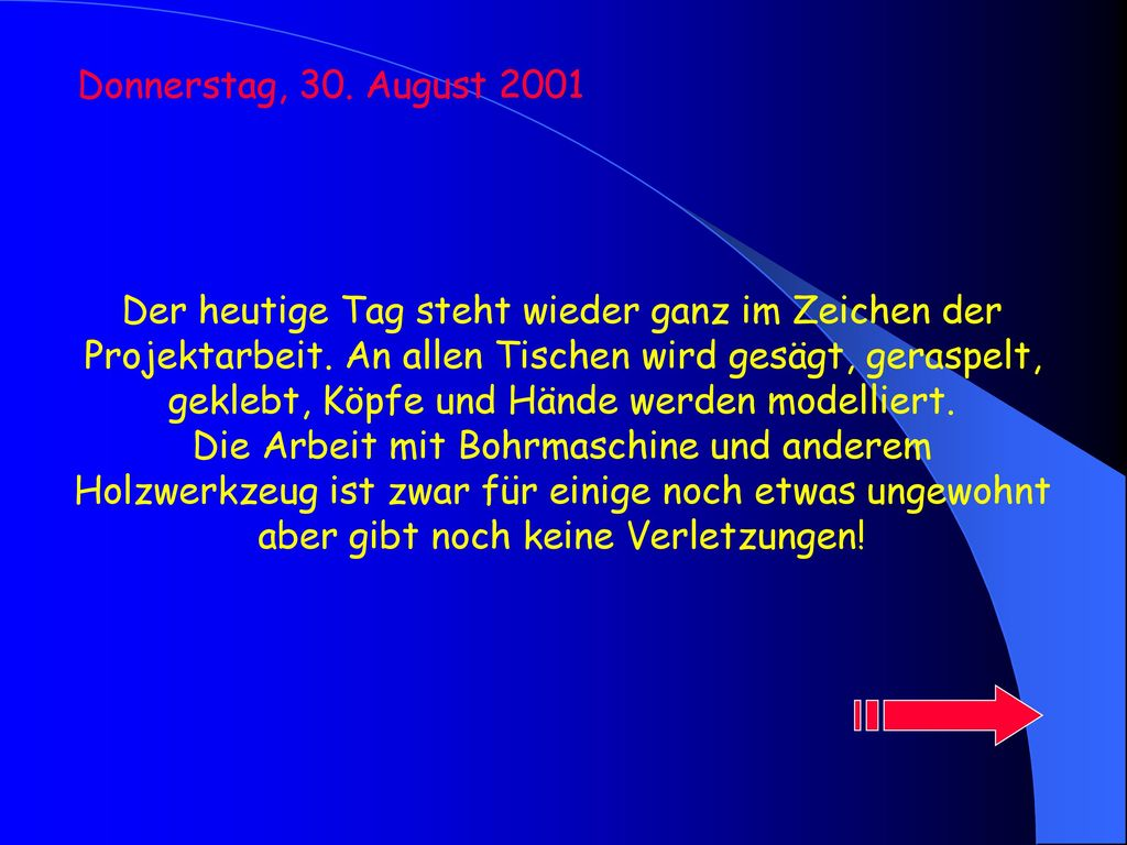 Donnerstag, 30. August 2001
