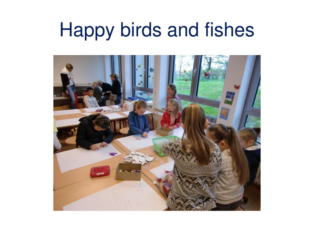 Happy birds and fishes
